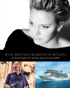 Son Altesse Sérénissime la Princesse Charlene de Monaco sera la marraine du Seven Seas Explorer. La cérémonie en tenue de soirée aura lieu le 13 juillet 2016 à Monaco avec un récital de 40 minutes par le ténor Andrea Bocelli. Seven Seas Explorer's Godmother: Her Serene Highness Princess Charlene of Monaco. She will officially christen the ship at the black-tie gala inaugural event in Monte Carlo on July 13, 2016 that will feature a 40-minute musical performance by world-renowned Italian tenor, Andrea Bocelli.